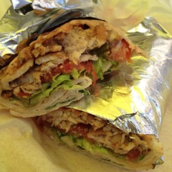 Taken out to lunch on my first day! Chicken shawarma wrap, yuuummmm (at Wally's Cafe)