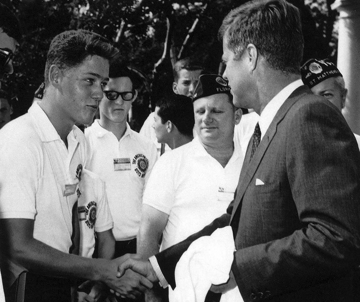 PREZ. Young Bill Clinton meeting JFK.