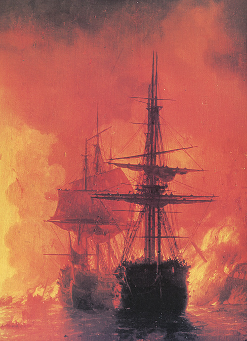 Ivan Aivazovsky, Battle of Chesma (detail), 1848