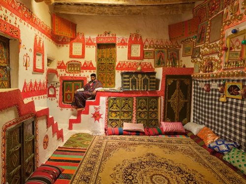 "nationalgeographicdaily:  Traditional Home, LibyaPhoto: George Steinmetz Kasim Abdu Salaam Habib, 39, opens his lovingly decorated 600-year-old home to foreign tourists in Ghadames in western Libya. The house needs repairs, and visitors are scarce these days. But Habib is optimistic. ""I want to see Libya as a democracy,"" he says."