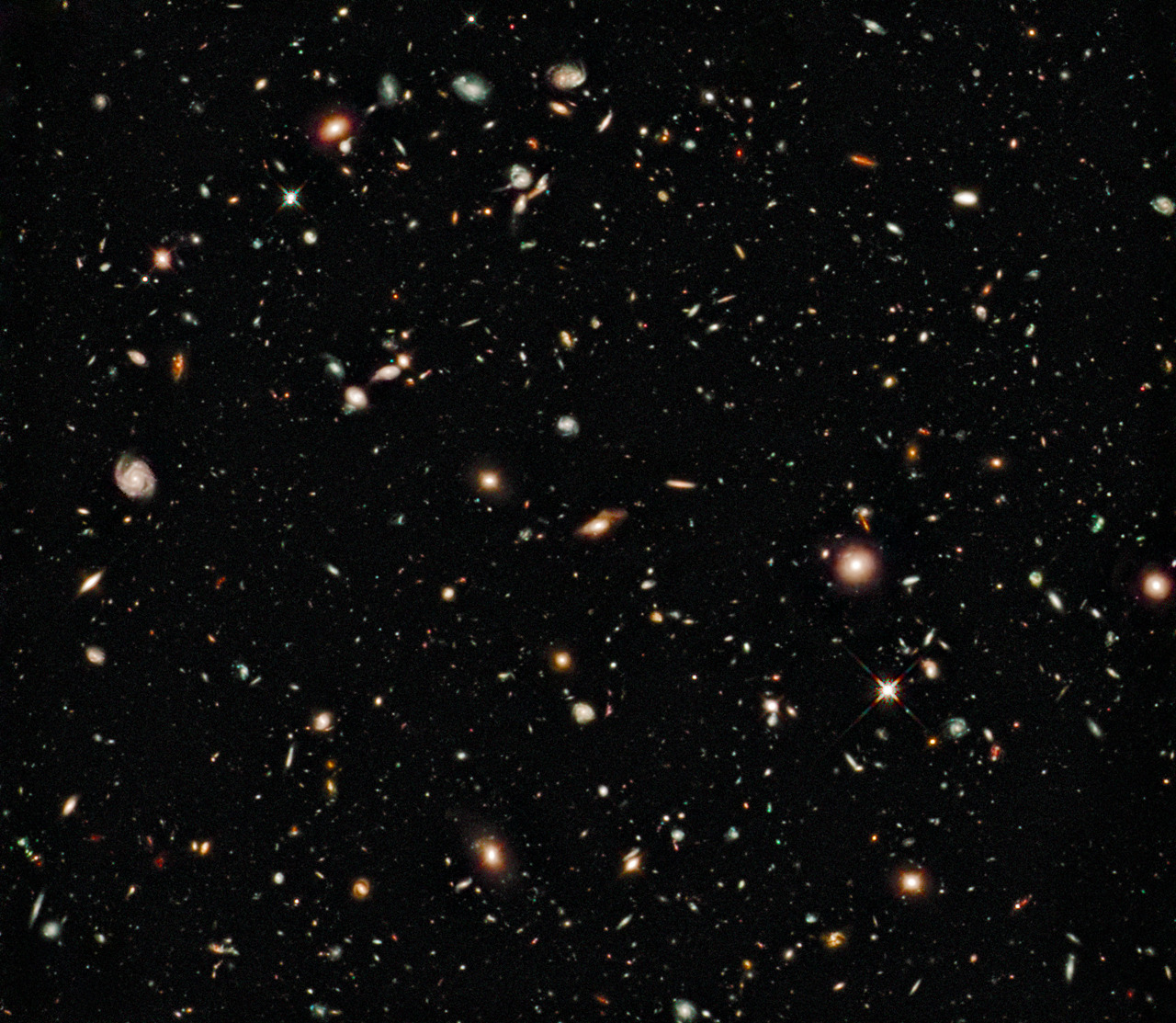 thatscienceguy:  Picture from Hubbles Deep Field Project The hubble space telescope glared at 1 spot in the sky continously for 50 days to produce this Amazing, and detailed, Picture!