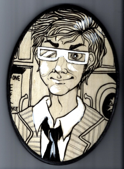 10th Doctor illustration on  wooden plaque.