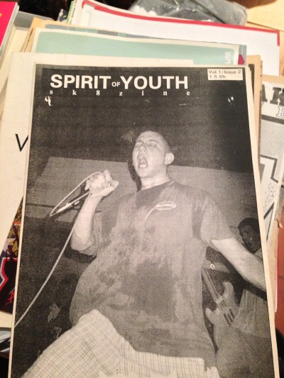 This 'zine I used to publish in the 80's. That's #2 from 1989 with Youth of Today on the cover. I shot this photo while touring Europe on their Euro '89 Tour. Other than this, it was a skateboarding + hardcore 'zine. And yes, I found it in a box together with several other zines like Schism, Fast Break and New Breed