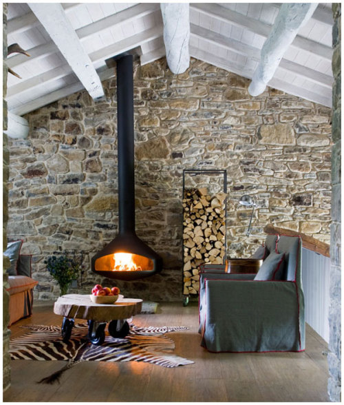 rustic living room with a modern fireplace