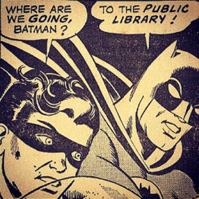 bookish-thoughts:  #batman knows where the action is :) #library