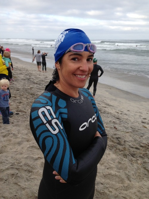 Finished the swim portion of Encinitas Triathlon. One of my mom's friends does relays and their swimmer was injured so they suckered me into it.  Ocean swims are awful and the sets were huge. Glad to be done. Now for a 50 mile bike with the boys.