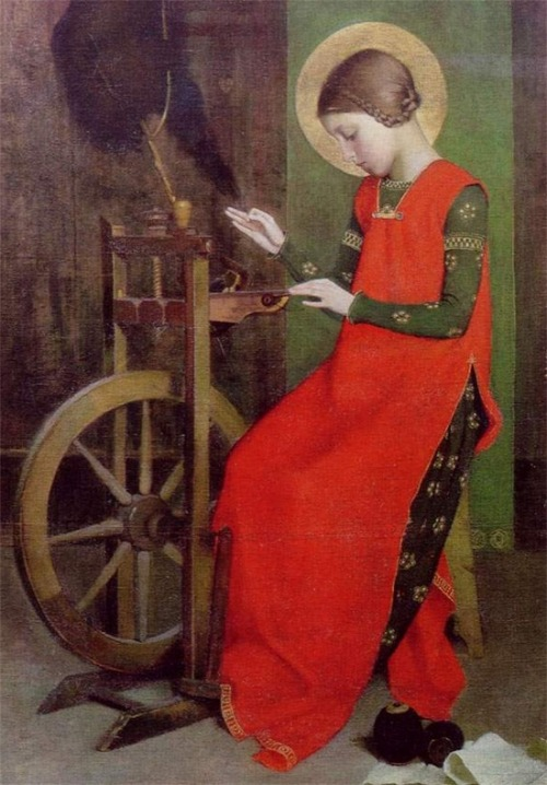 themagicfarawayttree:  Marianne Stokes~ St Elizabeth of Hungary Spinning for the Poor, 1895