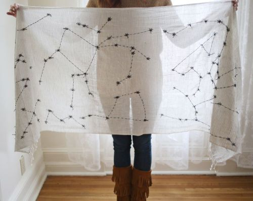 etsy:  Love: DIY Constellations Scarf from A Beautiful Mess.  Idea!