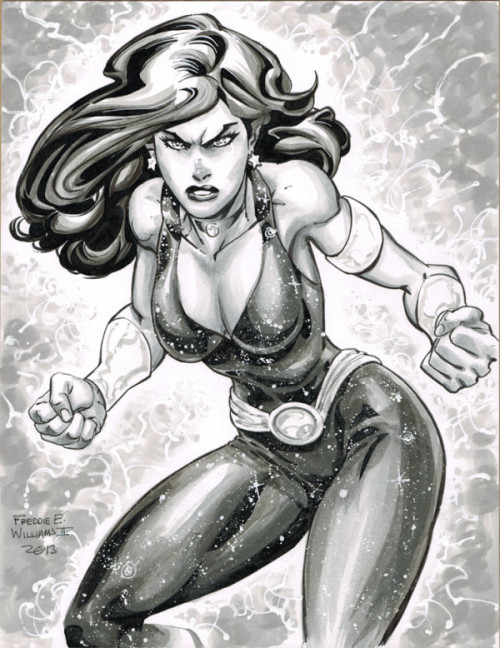 Donna Troy ink wash pin-up by Freddie Williams III