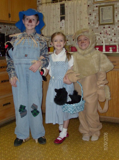 """2008: Mom made the Dorothy costume about 10 years earlier for older sister and made the Lion costume this year; Dad assembled the Scarecrow costume."" Have a great Oz photo? Click here to submit it to NPR's Backseat Book Club."