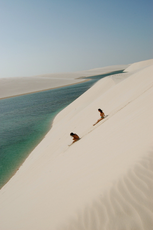 lmprovident:   Lençóis Maranhenses National Park in Brazil. It's an area composed of sand dunes that gets flooded by rainwater every year to create these gorgeous freshwater lagoons.   So who wants to take me to Brazil?!