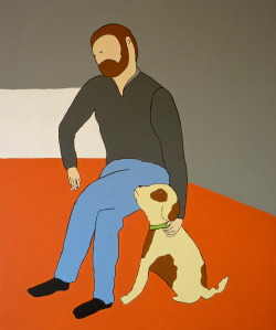 siebart:  SIEB ! - painting . My doggie and I , and thinking about what to do with myself. Acrylic on canvas, 60x80cm, www.siebart.com