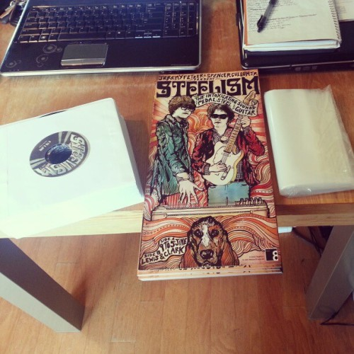 Assembling more #steelism vinyl for tonight's show at the basement..