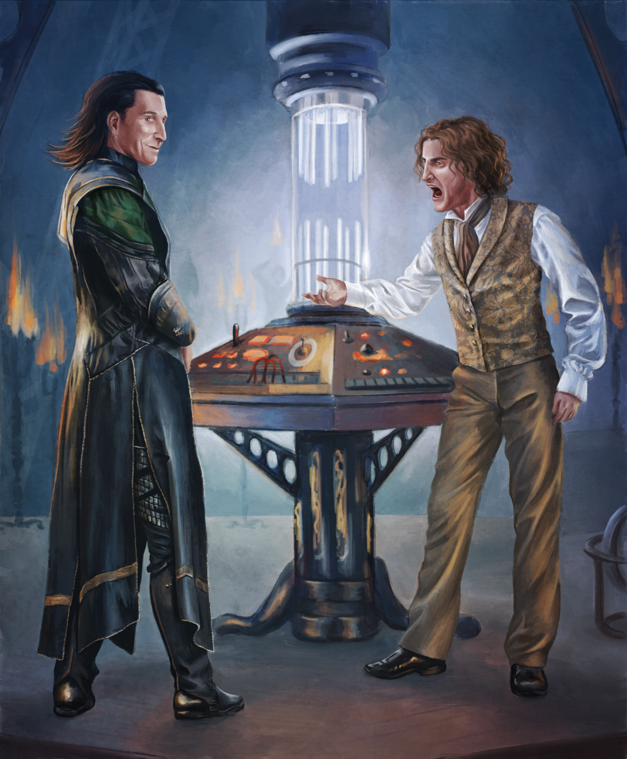 anachrophobian:  The Eighth Doctor scolding Loki, for sweetoceancloud I'd like to point out that I'm not an Avengers fan, in fact I haven't even seen the film, so I apologise if I've got Loki all wrong. Also, I have no idea what Loki would've done or what would be in character for him, but for the sake of the picture, let's just assume he fiddled with the TARDIS, sent it straight into a sun or something.  Oh oh oh oh oh now you're giving me ideas what if Tom Hiddleston and Paul McGann are in something together OMG