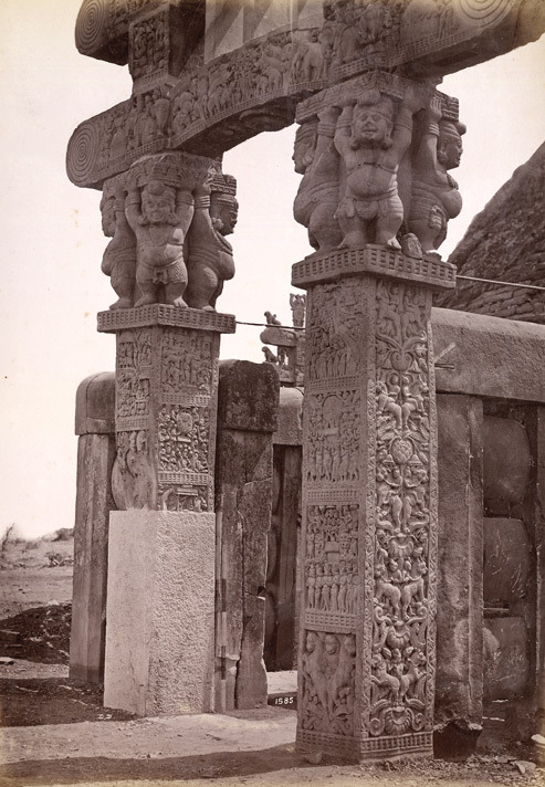 "fishstickmonkey: "" Photograph of the pillars of the western gateway of Sanchi stupa in Madhya Pradesh, taken by Deen Dayal in 1882 British Library """