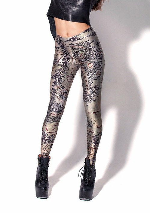 nevver:  Middle Earth Map leggings