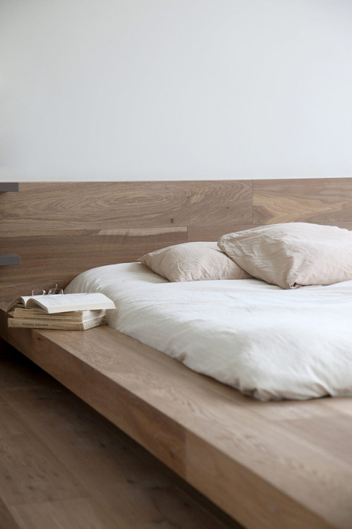 Like this bed.  calming neutrals
