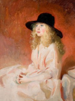books0977:  Black Hat (1929-30). Jean McLane (1878–1964). Oil on canvas McLane and her husband, artist John C. Johansen (1876-1964) help found the National Foundation of Portrait Painters in 1912. In that same year, she was invited by a group of philanthropists to depict the Allied Leaders from WW I. McLane provided the only female subject, Queen Elisabeth of Belgian.