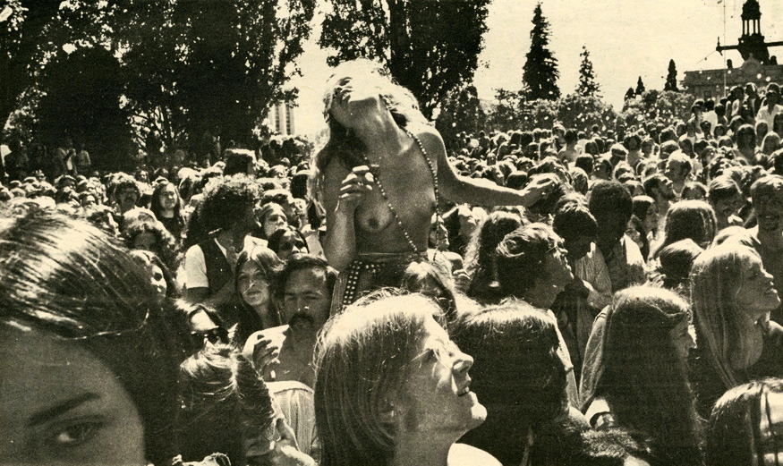 "Provo Park, May 24, 1970 ""The Youngbloods have come back to Berkeley to make good a promise. A couple months ago their concert at the Berkeley Community Theatre was fucked up by the promoter, and the rock band only got to play 15 minutes before the power was shut off. No refunds were given for the aborted show, and the Youngbloods vowed to return and do a free concert. So, this Sunday in Provo Park at 2 pm. the band will play for everyone. Jeffrey Cain will also be there, and he's really a bad motherfucker."""