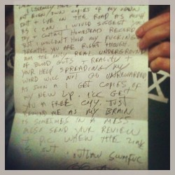 Actual letter from G.G. Allen. Up for auction to raise funds for #punkisland in #nyc. #music