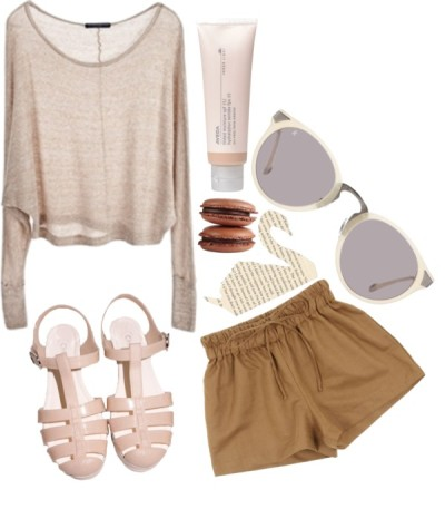 cloudedge:   I'm neutral by maryfrancesvest featuring brown shorts ❤ liked on Polyvore Brandy Melville  sweater / Brown shorts, $48 / Raen Optics / Aveda beauty product, $33