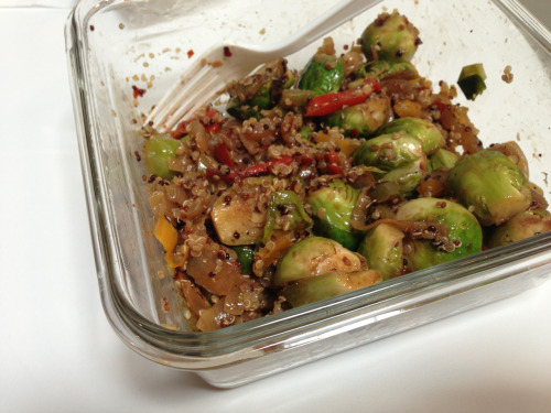Lunch! Brussell sprout and quinoa salad.  I made this last night for today… * brussell sprouts * onion * TJ frozen bell peppers * garlic * 1/2 c of cooked quinoa * spicy mrs dash * 1T of balsamic vinegar  Brussell sprouts, onion, peppers and garlic all cooked with organic olive oil spray. Quinoa cooked in a rice cooker.  Let's just say…I'm making this again!! So good