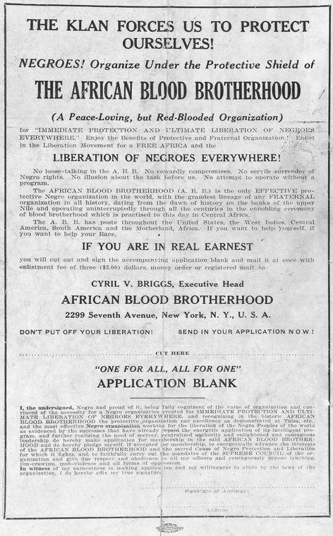 "fuckyeahmarxismleninism:  The African Blood Brotherhood was a short-lived but highly influential Black Liberation organization in the US, formed during the infamous ""red summer"" of 1919. That year saw murderous pogroms against African-Americans from Chicago to St. Louis, yet it also was a year of rising militant resistance to racist oppression. The African Blood Brotherhood was formed in part to organize physical resistance to pogroms, but also to organize for socialist revolution against white supremacy. Many members of the African Blood Brotherhood eventually joined the nascent Communist Party and helped to shape their policy on Black Liberation through the 1920's and 30's. Notable African Blood Brotherhood comrades included queer communist poet Claude McKay, whose 1919 poem ""If We Must Die"" epitomized the African Blood Brotherhood's spirit of militant struggle. Via Solidarity"