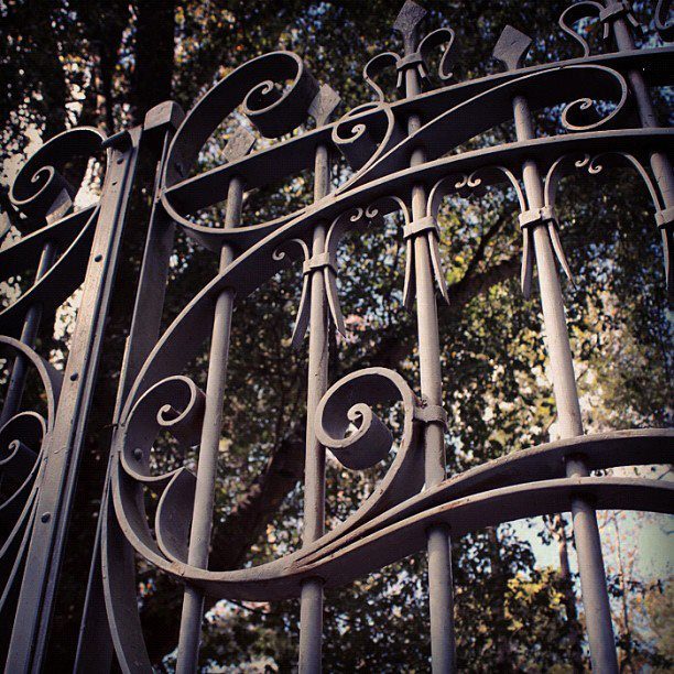 Front gate at the Atlanta History Center's historic Swan House.