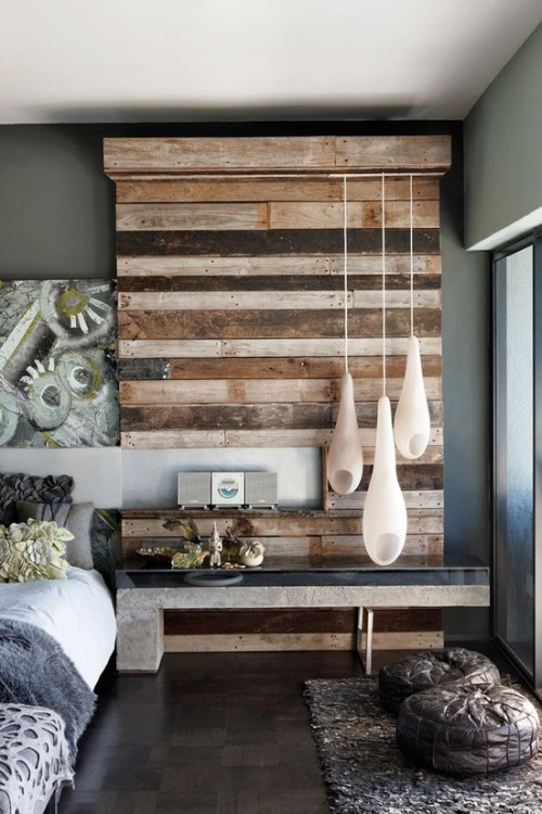 Reclaimed crate wood has been turned into a textured feature