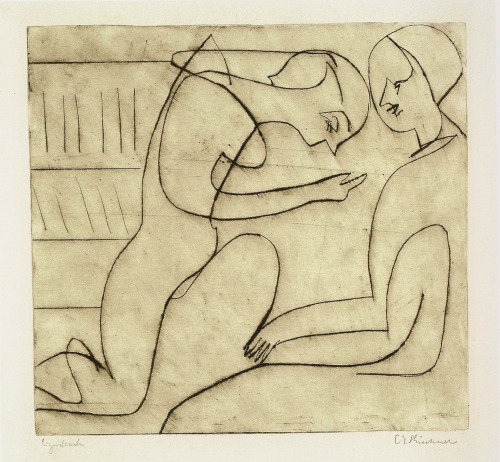 workman:  german-expressionists: Ernst Ludwig Kirchner, Lovers in the Bibliothek, 1930
