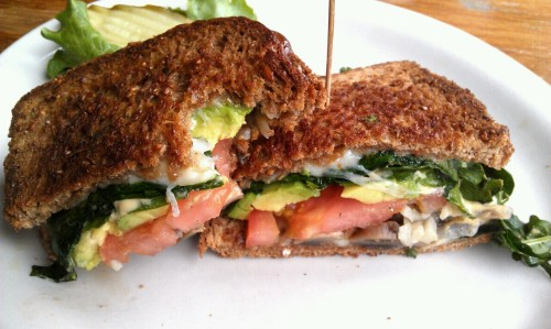 This sandwich though…. Super veggie sandwich from Golden Harvest Cafe. Spinach, grilled mushrooms, avocado, tomatoes, grilled onions, dijon aioli, and cheeeeseeeee on whole grain bread. Heaven.