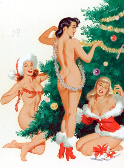 Pin up girls around the Christmas tree.