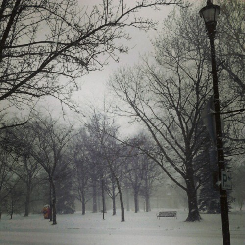 iamplayingontheradio:     aw my town is so cute in the winter     In light of the snow being gone (or almost gone…), we recommend accompanying this photo with a recording of Snow is Gone by Josh Ritter '99.