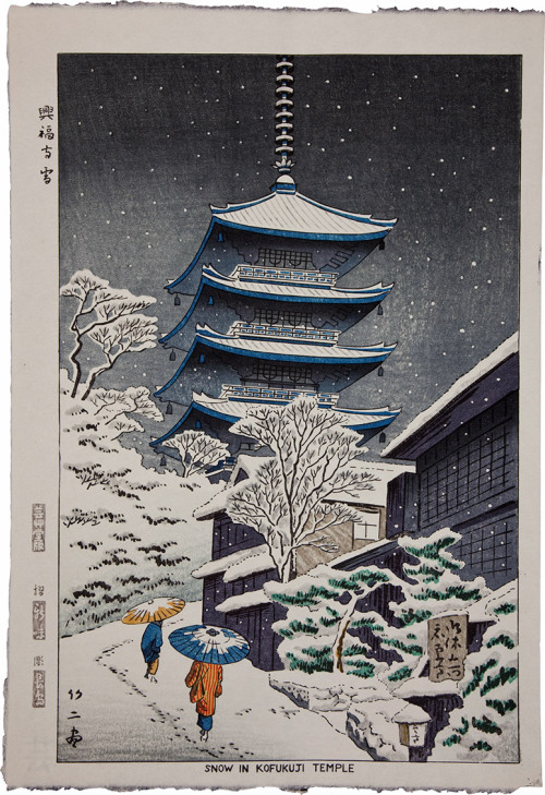 Snow in Kofukuji Temple. Japanese Full-Color Print, ca. 1900.