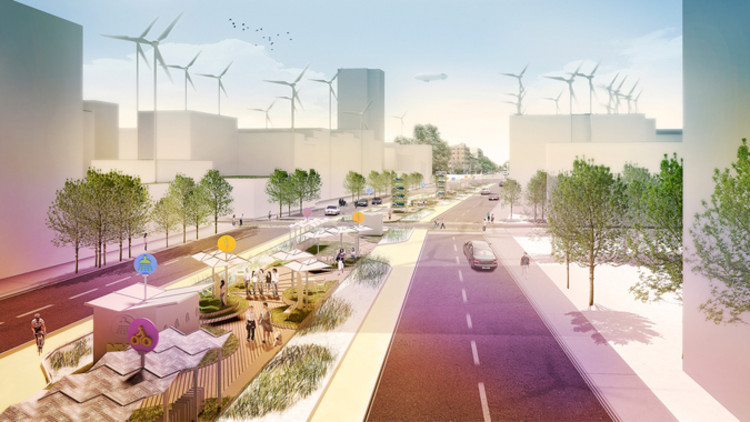 An idea for New York: a net-zero park within a three-block-long stretch of central median running down Allen Street on Manhattan's Lower East Side. Each block of that (prototype) linear park would be designed to test—via its amenities—a particular resilience strategy: waste disposal and biomass generation; solar/renewable energy; or storm water retention.