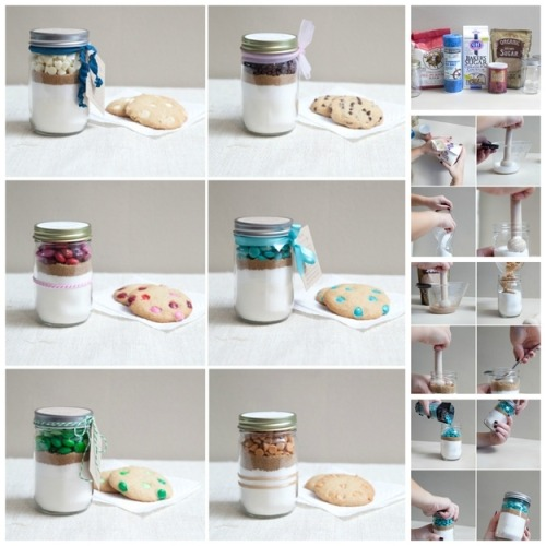 "fuckyeahcraft:  I've been seeing ""-something- in a jar"" home baking tutorials for a while now, and I think this one from Something Turquoise is my favourite.  This would make such a nice gift! (http://somethingturquoise.com/2012/11/02/diy-mason-jar-cookie-mix-favor/)  I agree…love the blue cookie mix!!!"