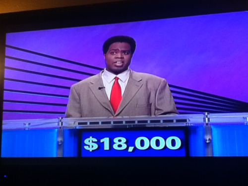 crying because the contestant on jeopardy looks like the nutty professor