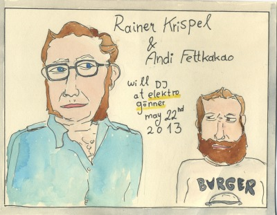 "oh my. Rainer Krispel. Rainer will be my next partner for the monthly fettkakao DJ club. i know Rainer for a long time already, but no. not from the 80ies, not even the 90ies… i think i first saw him perform w/ Grant in Graz at the Fixe fest (approx. 2000).  Rainer was working at the Chelsea in Vienna and i was in a collective which was setting up shows.. so we got to know each other quite soon. the next thing i know is that Rainer asked me if i wanted to play bass in the follow up project to Grant called Grant Royal. funny side note: i soon found out that he asked Sushilla before me; who couldnt do it.  Rainer was a very helpfull person when i found fettkakao. as soon as Seven Sioux reunited - it was (at least to me) pretty clear that fettkakao will work with them. FKK has released 3 Seven Sioux records, and one Seven Sioux LP in colobaration w/ the Stimmgewitter Augustin. not to leave out History: Rainer was part of the Punk movement in Linz in the 80ies, playing in such Bands as Feuerlöscher, Target Of Demand, Seven Sioux, Schwester; ever since he is involved in various projects, and has recently published his first book: Der Sommer Als Joe Strummer Kam"". please also check out ""Es Muss Was Geben"" (Book, Movie, LP). i am so looking foreward to play out our loves for dischord, old hardcore-punk, and whatever music we like on may 22nd, 2013 at the Elektro Gönner."