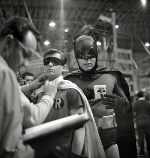 "Holy Coffee Mugs! Batman and Robin (Adam West and Burt Ward) on the ""Batman"" set in Los Angeles in 1966."