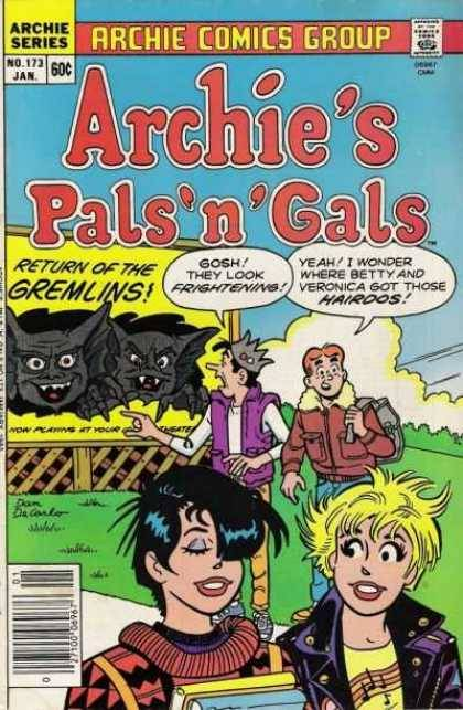 Gremlins on the cover of Archie's Pals and Gals, Jan. 1985. Art by Dan DeCarlo.
