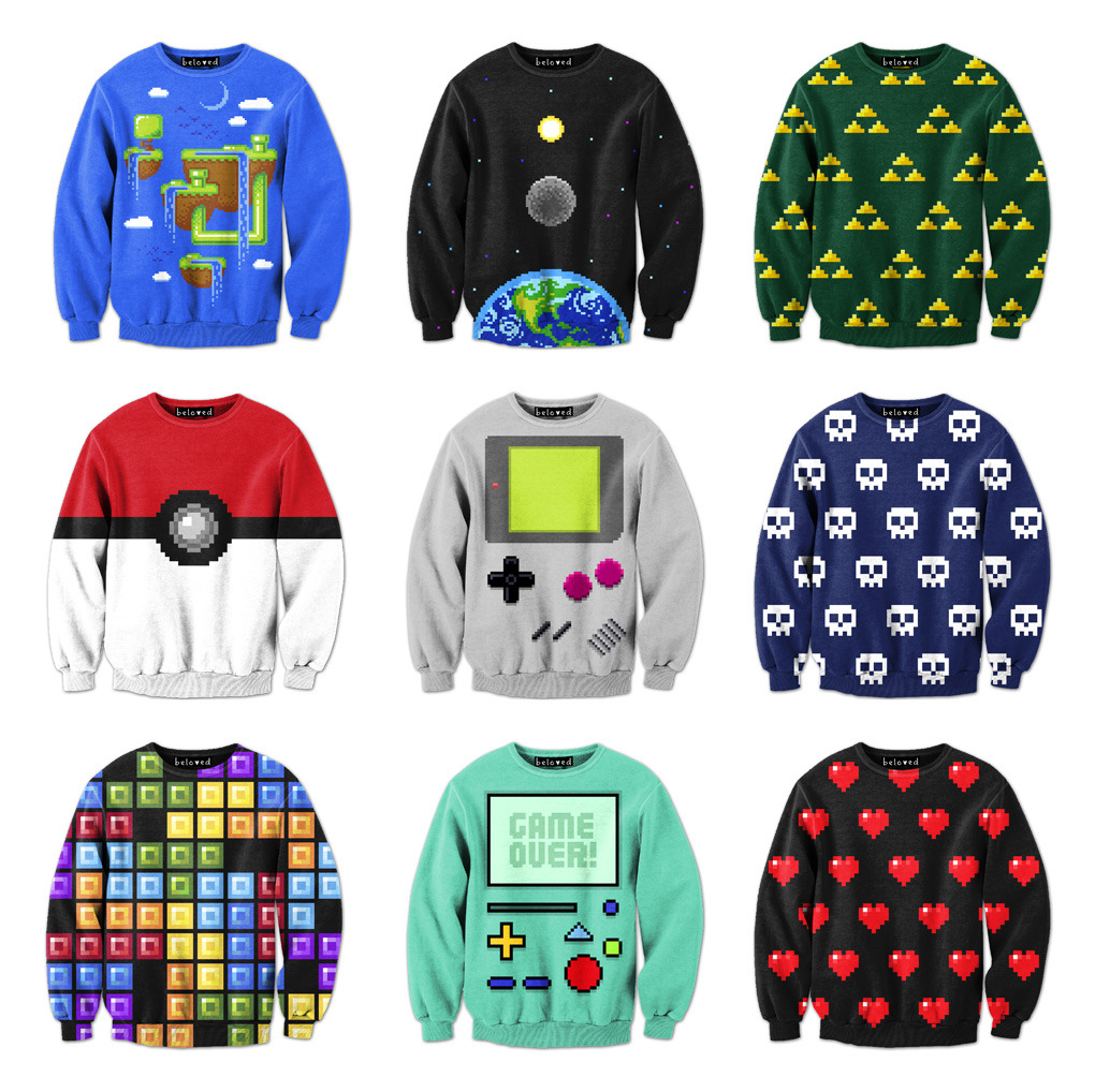 starburns:  it8bit:  Pixel Sweatshirts Pick up these rad sweatshirts by Drew Wise at Beloved!