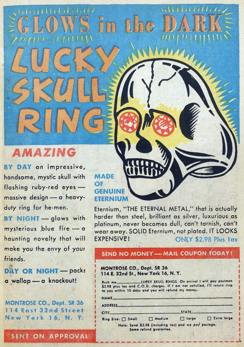 "johndarnielle:  ladythatsmyskull:  Ad from Wanted Comics #24 (April 1950).  IT LOOKS EXPENSIVE  In case y'all are wondering, Wikipedia says Eternium is ""a metal (the strongest metal) from the planet Eternia in the T.V. Series He-Man and the Masters of the Universe."" Laughing and curious, I used the all-mighty google to find this. Here's a pic sans ""jewels."" IT LOOKS EXPENSIVE.  Given the internet's amusement over this, an intact one might actually be worth something to comics aficionados."
