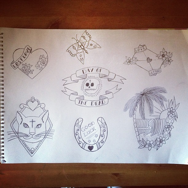A sudden burst of creativity… #tattoo #flash #art #design #traditional #traditionaltattoo #oldschool #dayofthedead #cat #cattattoo #drawing #ink #horseshoe #love #romantic #cute #butterfly #island #surf #skull #heart