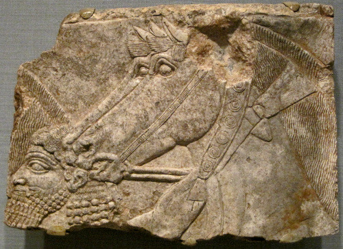 Relief showcasing an attendant with two horses from the Assyrian era (668-626 BCE). Worcester Art Museum. Worcester, MA.  Photo by Babylon Chronicle