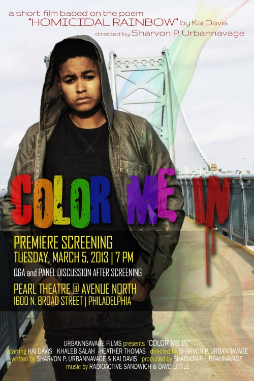 "Color Me In is premiering at The Pearl!!!! Come out for a Q&A session with yours truly!!! ;) A short film based on ""Homicidal Rainbow"" by Kai Daviswww.colormeinshortfilm.comTrailer: http://www.youtube.com/watch?v=_qEtKPwEWiw A bullied teen plans a mass murder in a red notebook."
