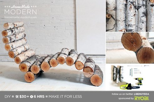 treehugger:  Build your own log lounge chair for $30