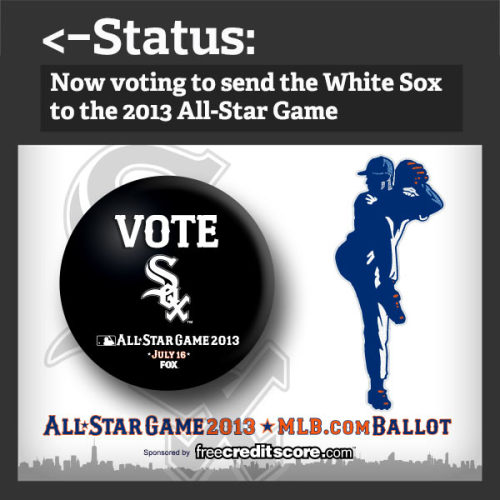 The 2013 All-Star Game ballot is now available! So what should you do?  First, go to www.mlb.com/vote and start voting. Then, REBLOG this so your friends know you're busy voting White Sox all day.