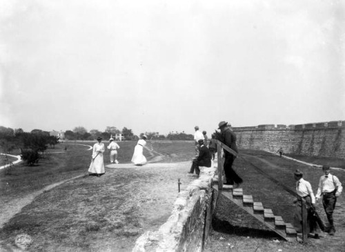 Golfers at Castillo de San Marcos: St. Augustine, Florida by State Library and Archives of Florida on Flickr.Look at the photo. What has just happened here? What is about to happen? Who has been in this place? Who will come here and and what will they do? What kinds of interactions can you imagine? Write one leaf beginning with what occurs to you upon looking, but do not allow yourself to be limited by what you see.Write One Leaf +about +ask +random +facebook +twitter   sponsors + You Are a Dog [ Kindle | Google | B&N | Kobo | iBookstore ]