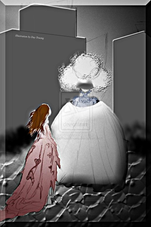 Currently finishing up this chapter of the novel. In the Chapter, Alice meets the Queen of Clubs, and this is what she looks like. On Alice: She was wearing a regalia given to her by the Queen of Hearts and it was ripped by the forest of thorns. On the Queen: A huge ballgown with no arms. It looks like the skirt itself. Also a huge mirror-visor. And lots of hair that forms a shape of a club.
