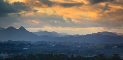 Sunset rainclouds Byron Bay hinterland.